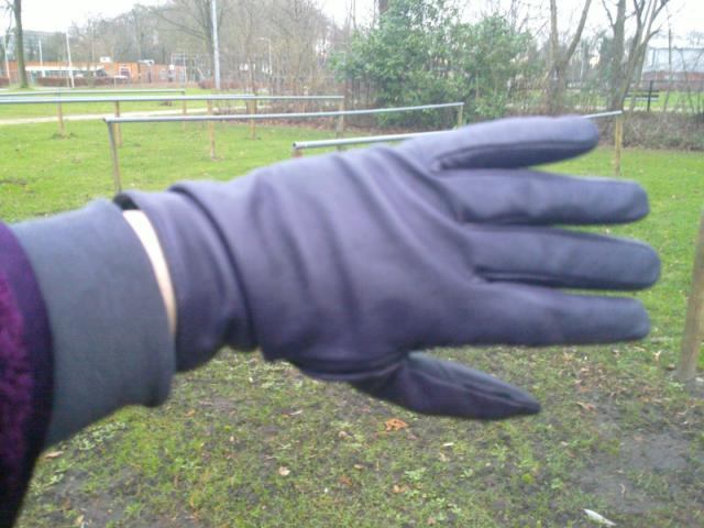 left hand in purple leather glove