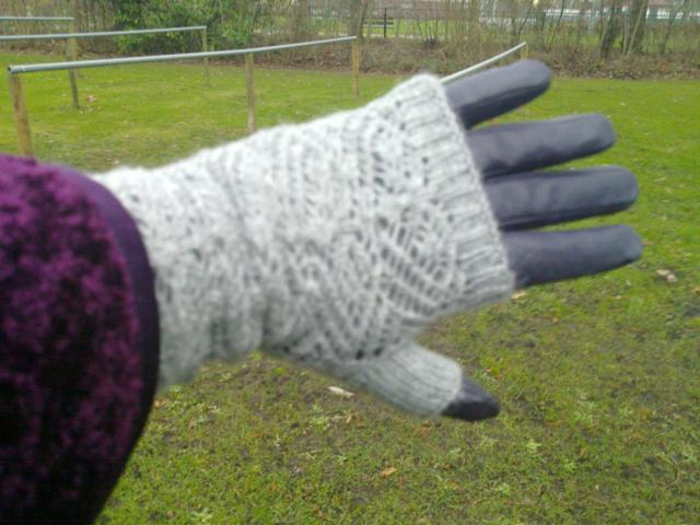 glove with long knitted fingerles over-glove