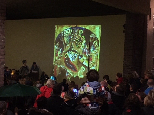 Nativity icon, projected