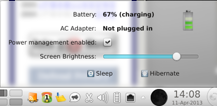Charging. Not plugged in.