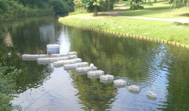 Floating artwork in Deventer moat