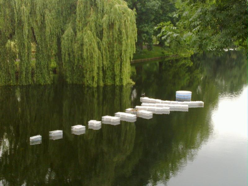 floating artwork on other side of bridge