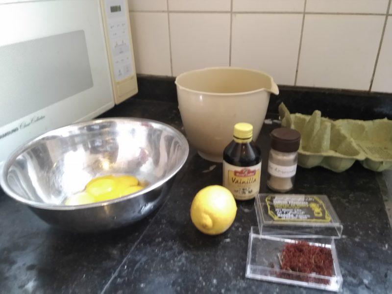 Separated eggs, vanilla, lemon, saffron, cardamom