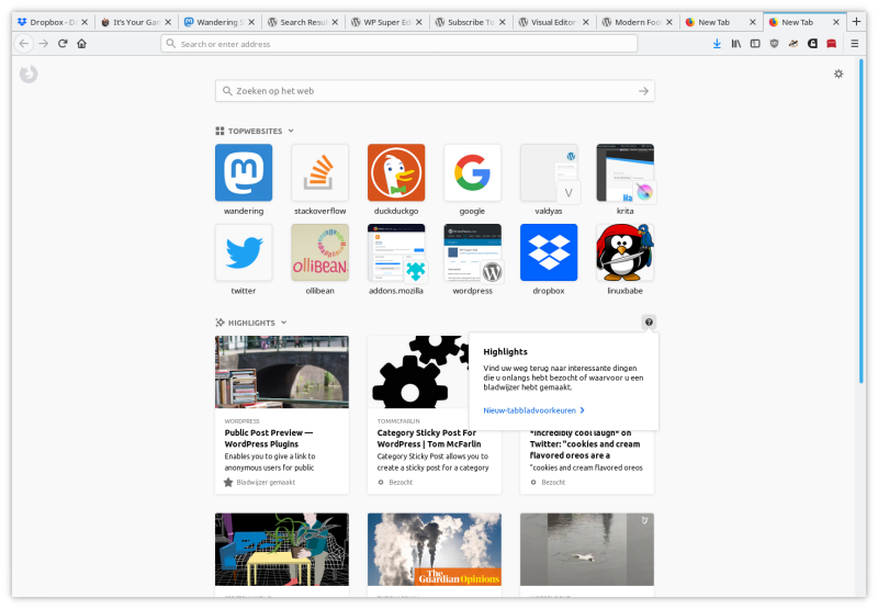 firefox new tab page in Dutch