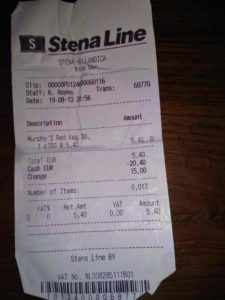 receipt for a beer saying Number of items: 0,017