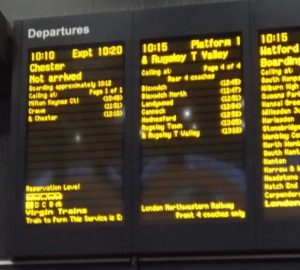 Train departures sign showing the train to Chester as Not arrived