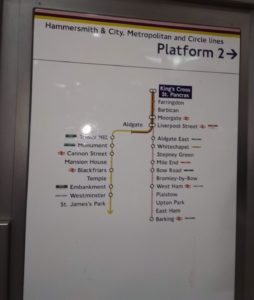 London Tube sign showing route from Kings Cross to Liverpool Street and beyond
